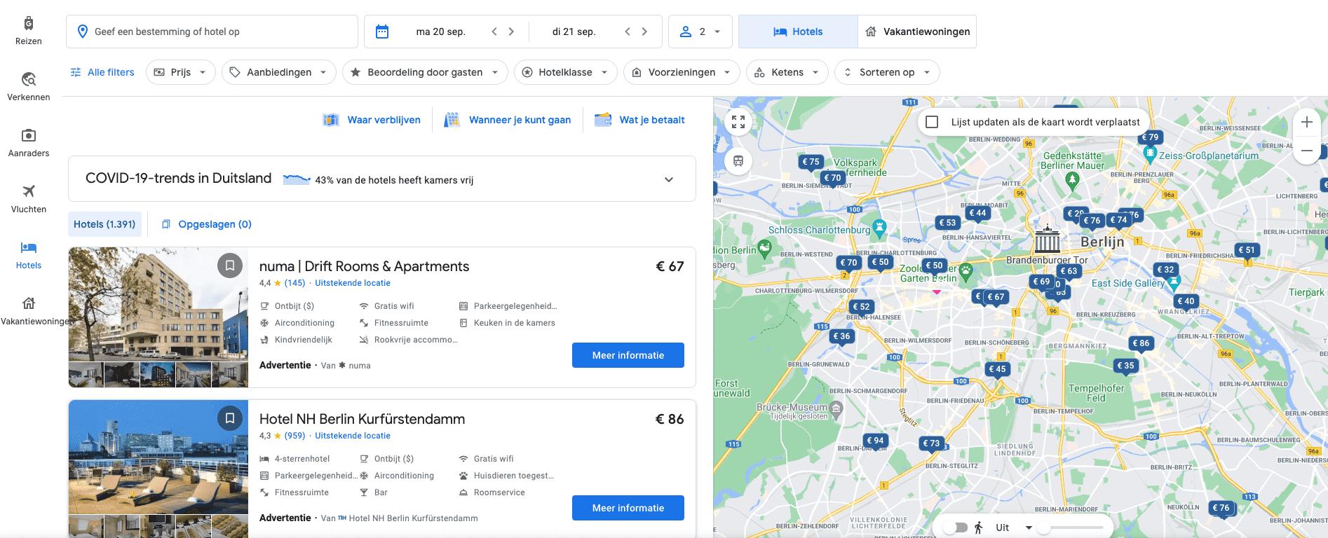 google hotel ads kaart